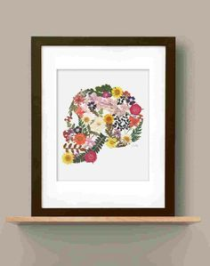 Pressed flowers skull on etsy