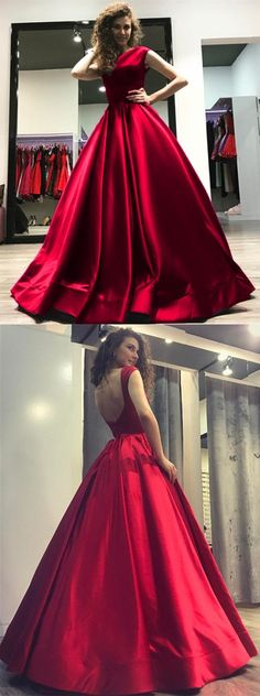 burgundy prom party dresses with ball gown, backless fashion formal dresses.