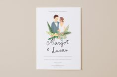 Designed with lush vegetation and greenery in mind, the Margot collection brings. Designed with lush vegetation and greenery in mind, the Margot collection brings together elements such as palms and suc. Wedding Cards, Diy Wedding, Dream Wedding, Wedding Invatations, Beach Wedding Invitations, Invites, Wedding Painting, Wedding Illustration, Wedding Guest Book Alternatives
