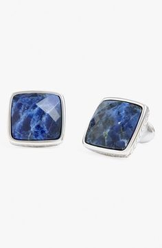 Men's David Donahue Sterling Silver Cuff Links - Silver/ Blue