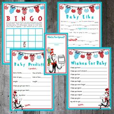 Seuss Baby Shower Game Bundle DIY by PencilMouthDesigns - Baby Showers 2nd Baby Showers, Baby Shower Fun, Baby Shower Gender Reveal, Baby Shower Parties, Dr Seuss Baby Shower Ideas, Shower Party, Dr. Seuss, Dr Suess Baby, Juegos Baby
