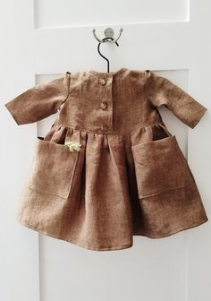 Sweet Handmade Linen Baby Toddler Dress With Pockets | GeeBabyDesigns on Etsy