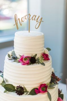 Thistle and floral wrapped wedding cake: http://www.stylemepretty.com/florida-weddings/2017/03/17/berry-blue-winter-wedding/ Photography: Emily Katharine - http://www.emilykatharine.com/
