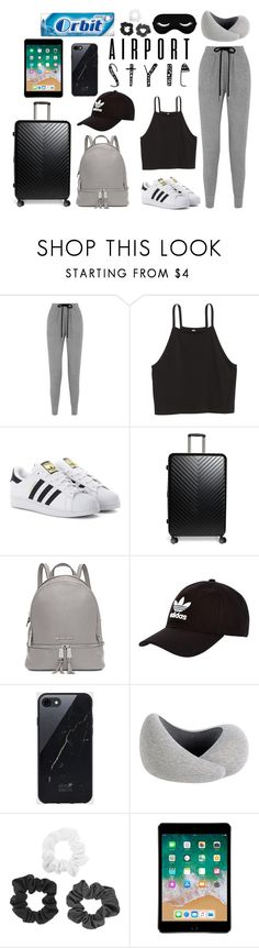 """""""Airport Style"""" by grace-atayi on Polyvore featuring Markus Lupfer, H&M, adidas Originals, Nordstrom, Michael Kors, Sefton and Apple"""