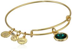 "Alex and Ani ""Bangle Bar"" May Birthstone Shiny-Gold Expandable Bracelet"