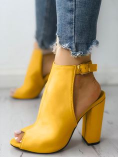 Shop Solid Suede Peep Toe Slingback Chunky Heels right now, get great deals at Chiquedoll Cute Heels, Lace Up Heels, Pumps Heels, Stiletto Heels, High Heels, Heeled Sandals, Peep Toe Heels, Yellow Shoes Heels, Strappy Sandals