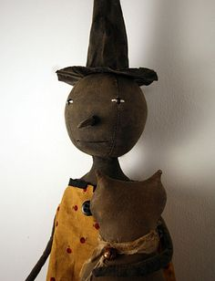 halloween primitives | ... Art Witch Doll With Cat | Primitive Folk Art by Old World Primitives