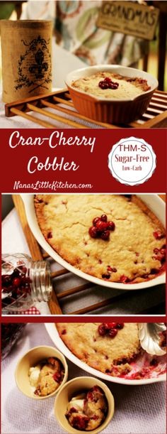 Try this Easy Cran-Cherry Cobbler for a sweet change of pace and a fantastic breakfast!  Top with low carb ice cream for an unbeatable fruit cobbler.