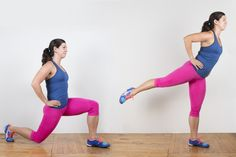 Lunge with Rear Leg Raise  #lunge #bodyweightexercise #bodyweight