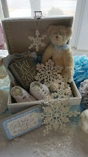 Southard House B&B baby it's cold outside baby boy shower blue white gray snowflake winter Baby Shower Gift Basket, Baby Shower Signs, Baby Shower Favors, Baby Shower Cakes, Baby Shower Themes, Baby Boy Shower, Baby Shower Decorations, Shower Party, Baby Shower Cupcakes Neutral