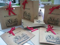 Alice in Wonderland Set of 6 Vintage Style Thank you Cards- Hand Made