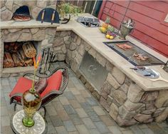 built in charcoal grill Landscape Mediterranean with built in bbq exterior design hardscaping ice chest outdoor fireplace outdoor kitchen Brick Built Bbq, Brick Bbq, Built In Grill, Built In Charcoal Grill, Backyard Fireplace, Fireplace Outdoor, Outdoor Kitchen Countertops, Pizza Oven Outdoor, Grill Design