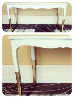 White table - gold dip dye legs. Coffee table idea Coffee Table Gold Legs, Painted Coffee Tables, Gold Table, Coffee Table Redo, Black Table, Stenciled Table, Gold Sofa, Sofa Legs, Dip Dye