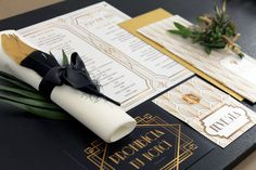Great Gatsby wedding stationery by Flordeluxe Great Gatsby Wedding, Wedding Stationery, Gift Wrapping, Gifts, Gift Wrapping Paper, Presents, Gifs, Gift Packaging, Wedding Invitations