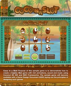 Coco in a Slot! A sample game to demonstrate how to create cross-platform Casino Slot game with rich animations and sound effects, using IDE and SDK. Casino Slot Games, Raise Funds, Really Cool Stuff, Editor, Coconut, Animation, Sound Effects, Create