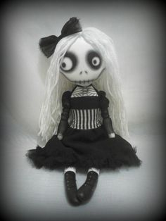 Gothic Art Rag Doll  Penny Dreadful  RESERVED by ChamberOfDolls