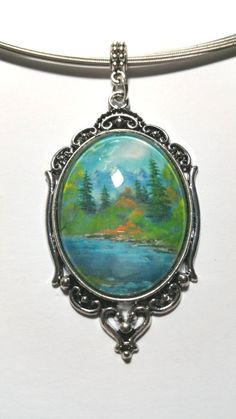 """Pendant """"Landscape"""" - pinned by pin4etsy.com Turquoise Necklace, My Design, Etsy Shop, Landscape, Pendant, Jewelry, Jewlery, Bijoux, Teal Necklace"""