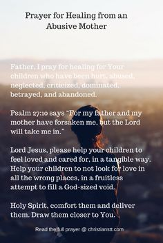 Prayer for Healing from an Abusive Mother