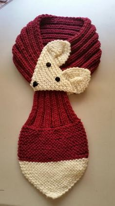 Adjustable Fox Scarf Hand Knit Scarf / neck warmer Claret /