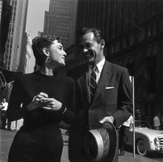 audrey hepburn & william holden while filming sabrina in nyc, circa 1954