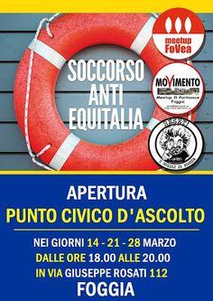 MEETUP I GRILLI DI FOGGIA: Inaugurazione del centro di ascolto SOS ANTIEQUITA...