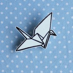 Illustrated origami paper crane brooch by ClortyCatCrafts on Etsy