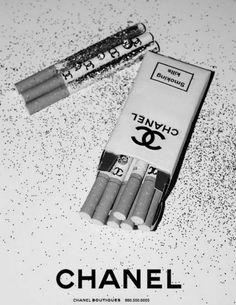 black and white, chanel, cigarette, fashion, hipster, smoke, smoking
