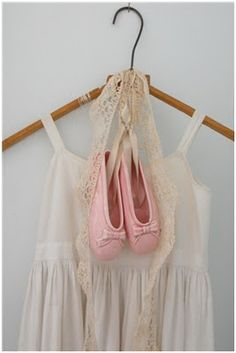 China ballet shoes with vintage lace