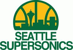 Seattle Supersonics Primary Logo (1976) - Seattle skyline in green on a yellow half basketball above script