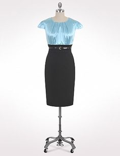 Plus Size Belted Two-Tone Dress | Dressbarn