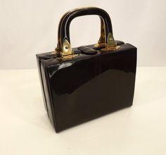 Vintage Box Purse 1960s Chocolate Brown by SuzisCornerBoutique, $41.00