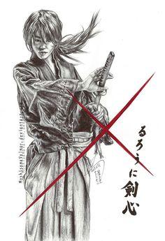 Himura Kenshin - Takeru Sato pen drawing by HoshisamaValmor.deviantart.com on @deviantART