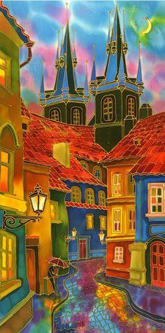 "Primary Colors ""Evening in Prague"" by Yelena Sidorova mixed media artwork Prague, Silk Art, Mixed Media Artwork, Naive Art, Diy Photo, Silk Painting, Online Art Gallery, Amazing Art, Awesome"