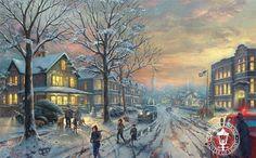 "A Christmas Story by thomas Kinkade18""""x27"""" canvas $995. framedFrame size: 28"""" x 37"""" Thomas Kinkade Studios is proud to present the latest interpretation of an American film classic. A Christmas S"