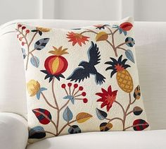 Folk Bird Pillow Cover #potterybarn would LOOK good with  navy and blue check