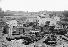 *ATLANTA GEORGIA ~ The ruins of an extensively damaged Roundhouse after the Atlanta Campaign in the summer of 1864. After Union Maj. Gen. William T. Sherman captured the city, he began his destructive March to the Sea, finally taking the port of Savannah on December 21. #