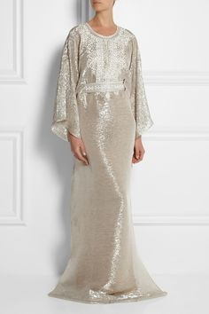 Oscar de la Renta | Embellished metallic silk kaftan | NET-A-PORTER.COM