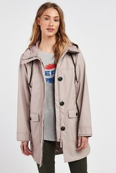 Buy Pale Pink Rubber Rain Jacket from Next Ireland Rubber Rain Jacket, Raincoats For Women, Dog Walking, Pale Pink, Looks Great, Jackets, Style, Fashion, Down Jackets