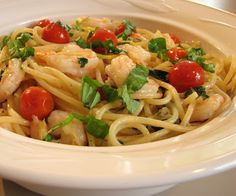 For the Love of Cooking » Pasta with Shrimp, Tomatoes, Garlic, Lemon and Basil