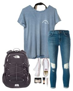 """School"" by halledaniella ❤ liked on Polyvore featuring Hollister Co., J Brand, Converse, MILK MAKEUP, NARS Cosmetics, Maybelline and The North Face"