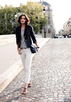 dark denim blazer + grey tee + multi-colored belt + ankle trousers + strappy heels -  love her hair too