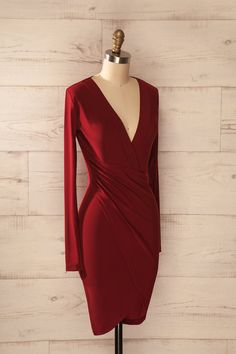 Racconigi - Red long sleeves dress with pleats