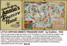 1933 Little Orphan Annie's Treasure Hunt board game from the Ovaltine company