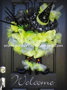 Halloween Spider Witch Wreath Black and Green Silver Diva TuTu Witch Hat & Boots XXL. $129.99, via Etsy.