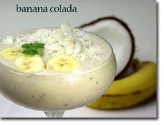Banana Colada!  Mmmm! 1/2 C canned coconut milk, 2 TBS lime juice, 1/3 C fine grated coconut, 2 heaping C frozen bananas (about 4) sliced into 1/4 inch rounds before freezing