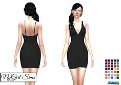 Sims 4 CC's - The Best: Deep V Neck Mini Dress by NyGirl