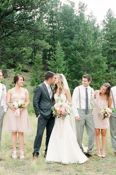 Beautiful mountain wedding with a bridal party in blush pink. Love this!