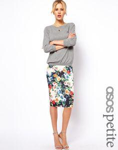 ASOS Petite   ASOS PETITE Exclusive Pencil Skirt In Floral Print at ASOS