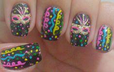 Unha Decorada de Carnaval +de 81 Ideias pra Cair na Folia # Unhas Mardi Gras, Gel Nails, Manicures, Healthy People 2020, Nail Art, Manual, Painting, Inspiration, Nail Art Designs