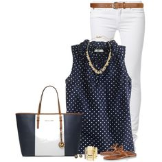 white denim capri pants, navy blue with white polka dots sleeveless top, navy blue striped tote, leather sandals